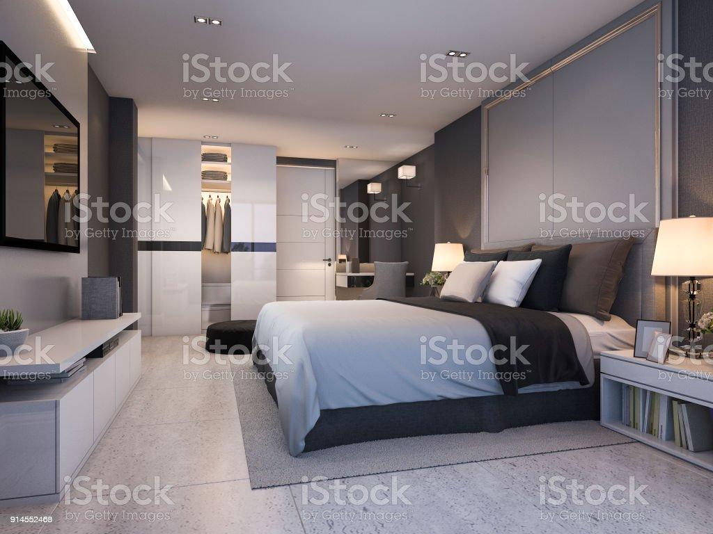 Photo de stock de Suite De Chambre Luxe Moderne Rendu 3d Nuit Au ...