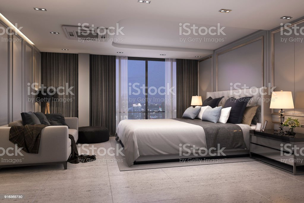 Photo libre de droit de Suite De Chambre Luxe Moderne Rendu 3d Nuit ...