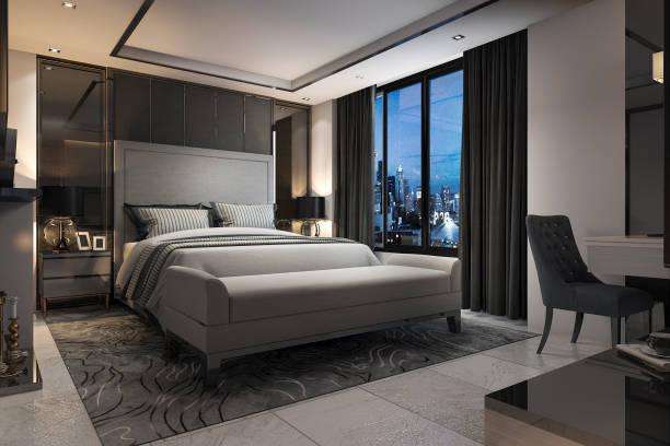 3D Rendering moderne Luxus Schlafzimmersuite im Hotel mit Dekor – Foto