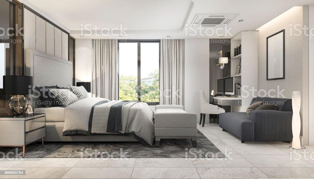 Suite De Chambre à Coucher Luxe Moderne Rendu 3D Dans Hôtel Au Décor Photo  Libre De