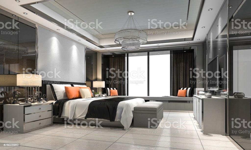 Suite De Chambre à Coucher Luxe Moderne Rendu 3d Dans Hôtel Au Décor ...