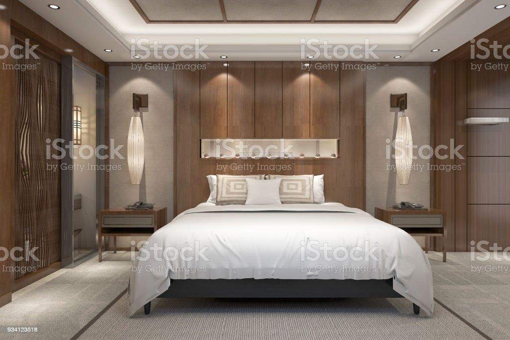 Suite De Chambre Luxe Moderne Rendu 3D Dans Station Avec Salle De Bain  Photo Libre De