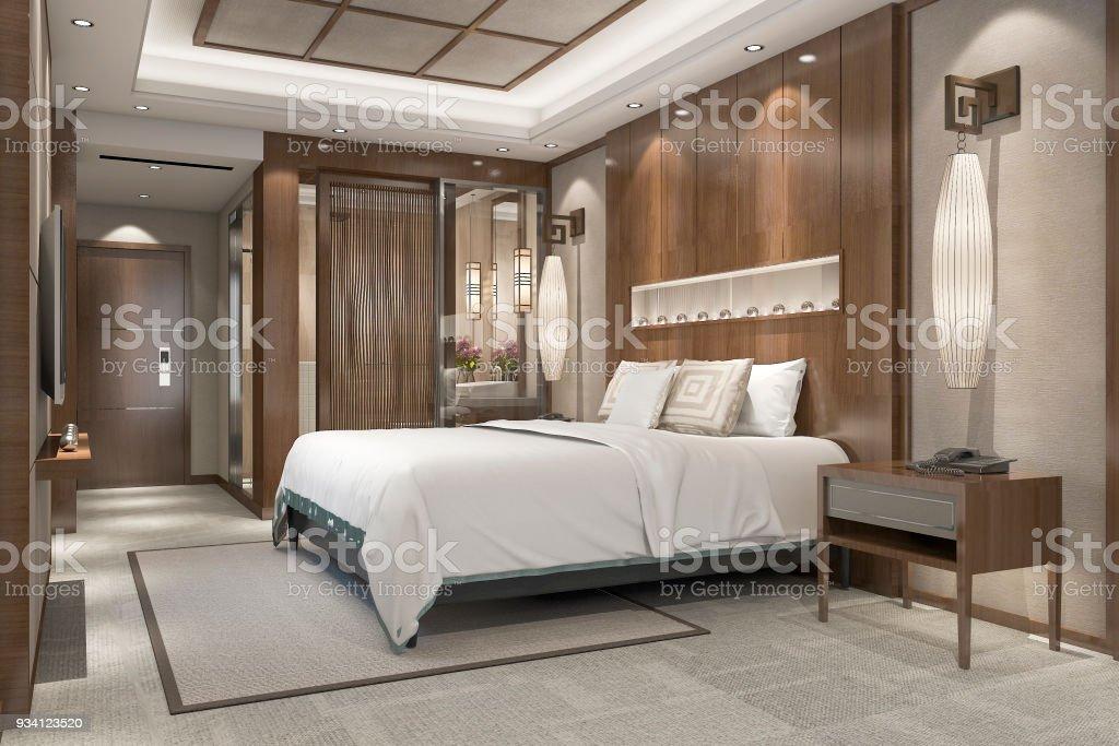 Suite De Chambre Luxe Moderne Rendu 3d Dans Station Avec Salle De ...