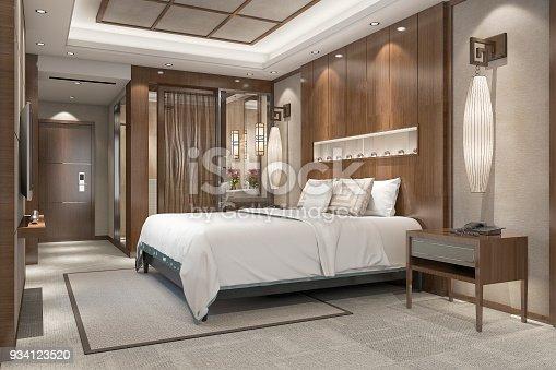 istock 3d rendering modern luxury bedroom suite in resort with bathroom 934123520