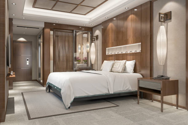 3d rendering modern luxury bedroom suite in resort with bathroom 3d rendering interior and exterior design luxury hotel room stock pictures, royalty-free photos & images