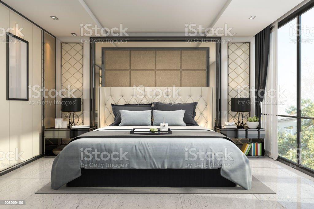 3D Rendering Modernen Luxus Klassischen Schlafzimmer Mit Marmor Dekor  Lizenzfreies Stock Foto