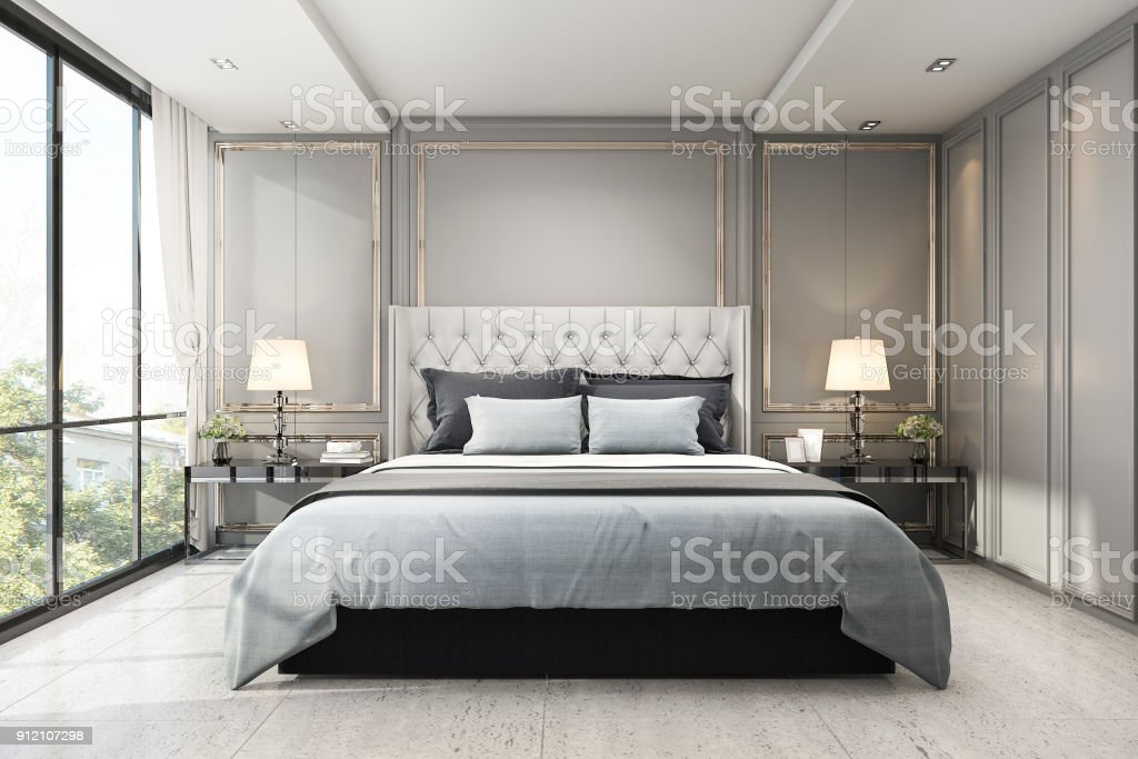 3d rendering modern luxury classic bedroom with marble decor royalty-free stock photo