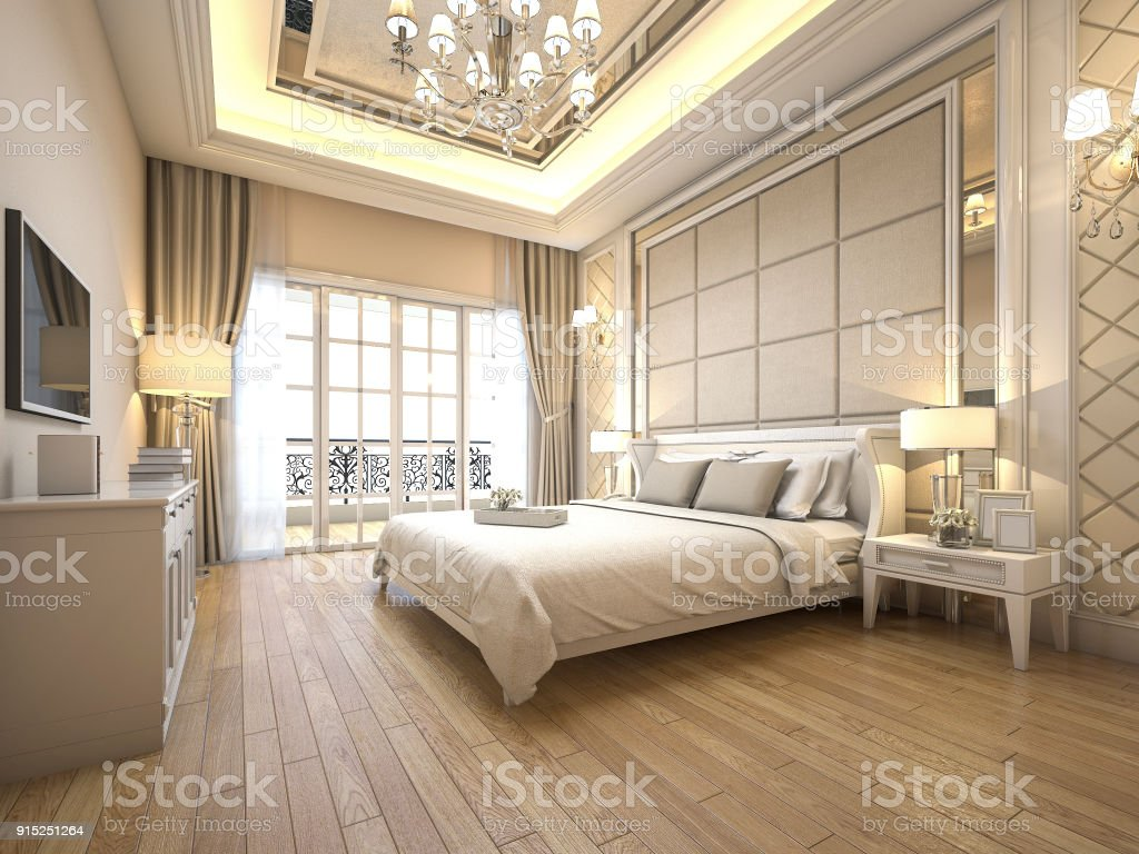 12d Rendering Modern Luxury Classic Bedroom With Marble Decor Stock Photo    Download Image Now