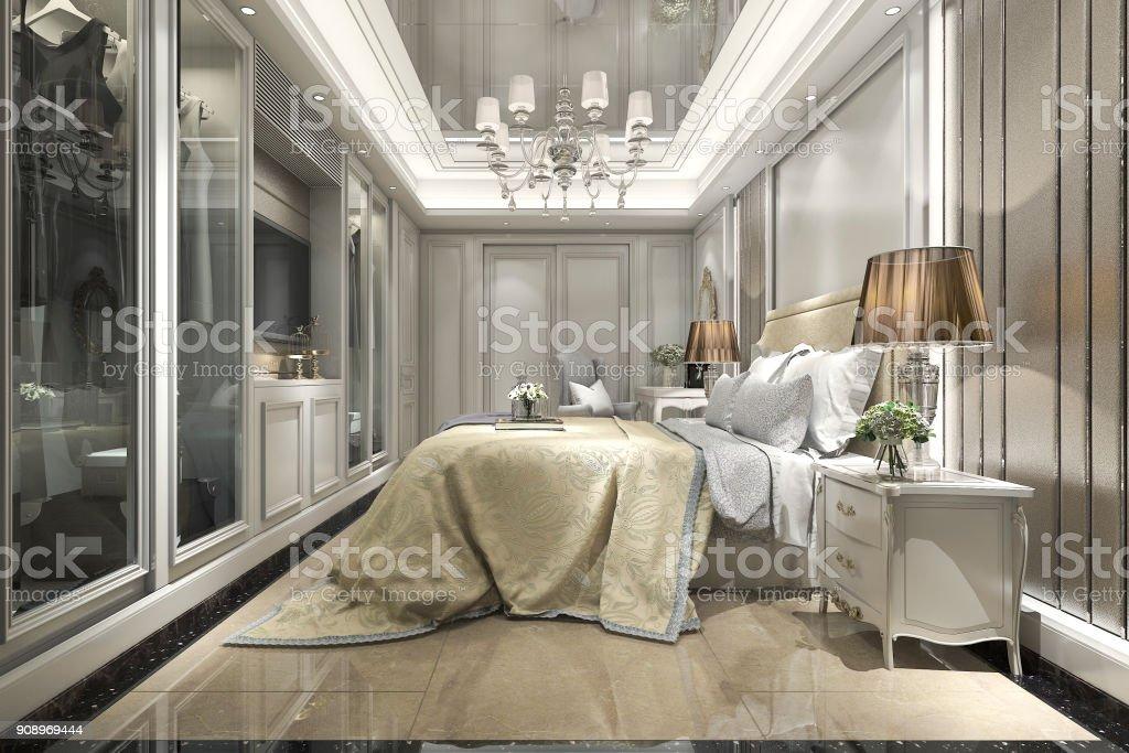 3D Rendering Modernen Luxus Klassischen Schlafzimmer Mit Begehbaren  Kleiderschrank Lizenzfreies Stock Foto