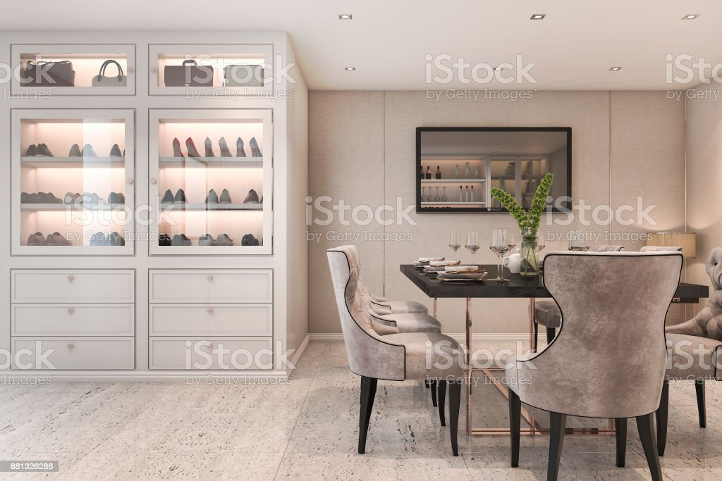 3d Rendering Modern Luxury Dining Room With Bag And Shoe Cabinet  Royalty Free Stock Vector