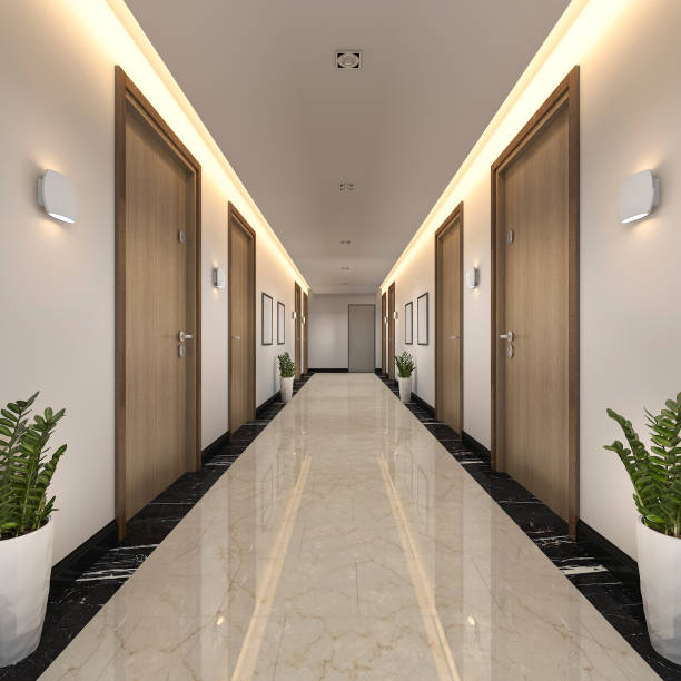 3d rendering modern luxury wood and tile hotel corridor - corridor stock photos and pictures