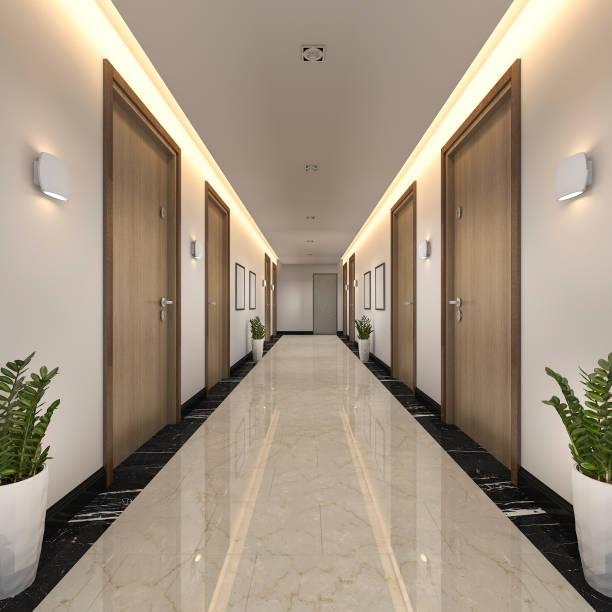 3 d レンダリングは、モダンで豪華な木材やタイル ホテルの廊下 - 廊下 ストックフォトと画像