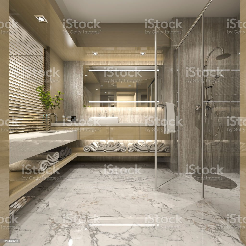 3d Rendering Modernen Luxus Holz Bad In Suitehotel Stockfoto ...