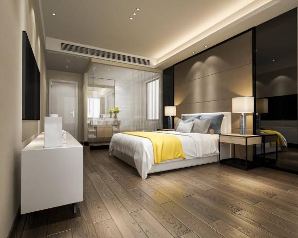 3d Rendering modernen Luxus gelb Schlafzimmer Suite und Bad – Foto