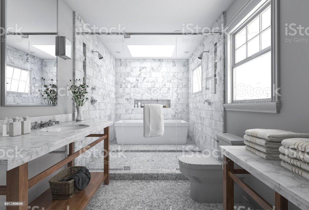 3D Rendering Moderne Minimal Badezimmer Mit Skandinavischen Dekor Und  Schöne Natur Blick Aus Fenster Lizenzfreies Stock