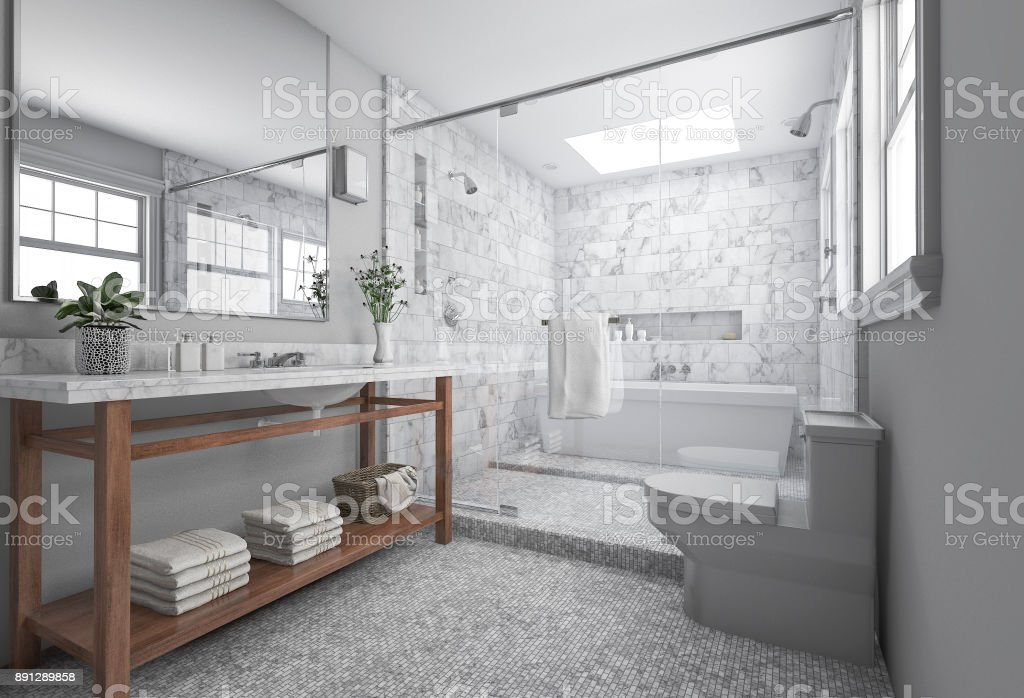 3d rendering modern minimal bathroom with scandinavian decor and nice nature view from window stock photo