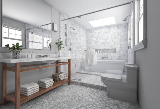 3d rendering modern minimal bathroom with scandinavian decor and nice nature view from window - tile stock photos and pictures