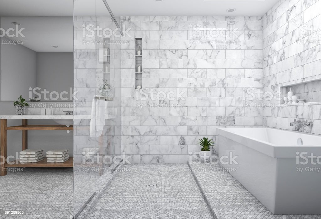Fotografía de 3d Representación Mínimo Cuarto De Baño Moderno Con ...