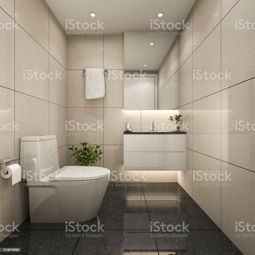 3D Rendering Moderne Minimal WC Und Gästetoilette Lizenzfreies Stock Foto