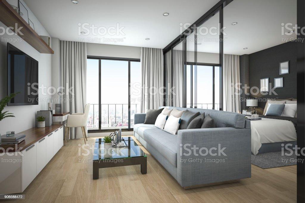 3d Rendering Moderne Minimal Holz Wohnzimmer Und ...