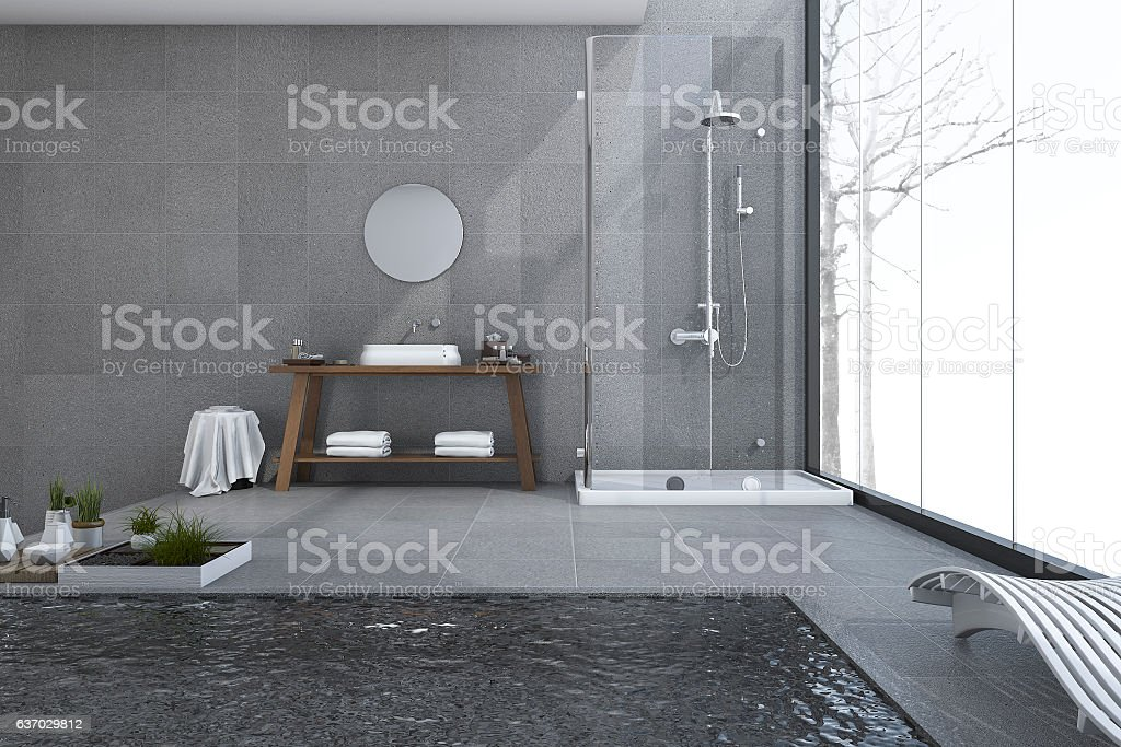 3d rendering modern pool in loft bathroom stock photo