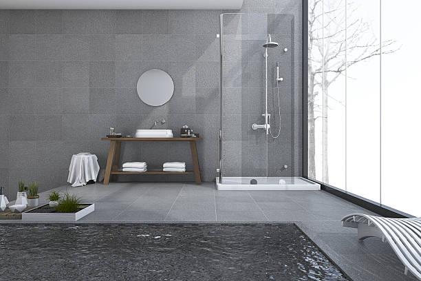 3d rendering modern pool in loft bathroom - wandspiegel weiß stock-fotos und bilder