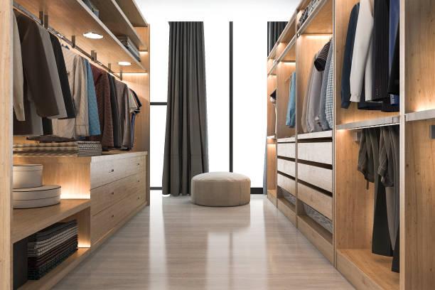 3d rendering modernen skandinavischen weißem holz gehen in schrank mit garderobe in der nähe von fenster - kleiderschrank ohne türen stock-fotos und bilder