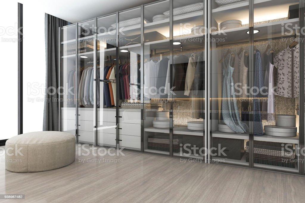 3D Rendering modernen skandinavischen weißem Holz gehen in Schrank mit Garderobe in der Nähe von Fenster – Foto