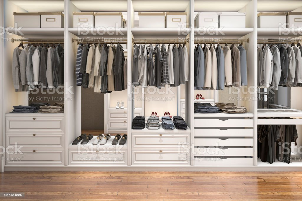 3d Rendering Modern Scandinavian White Wood Walk In Closet With Wardrobe  Royalty Free Stock Photo