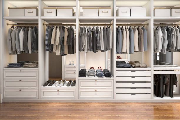 3d rendering modernen skandinavischen weißem holz gehen in schrank mit garderobe - kleiderschrank ohne türen stock-fotos und bilder