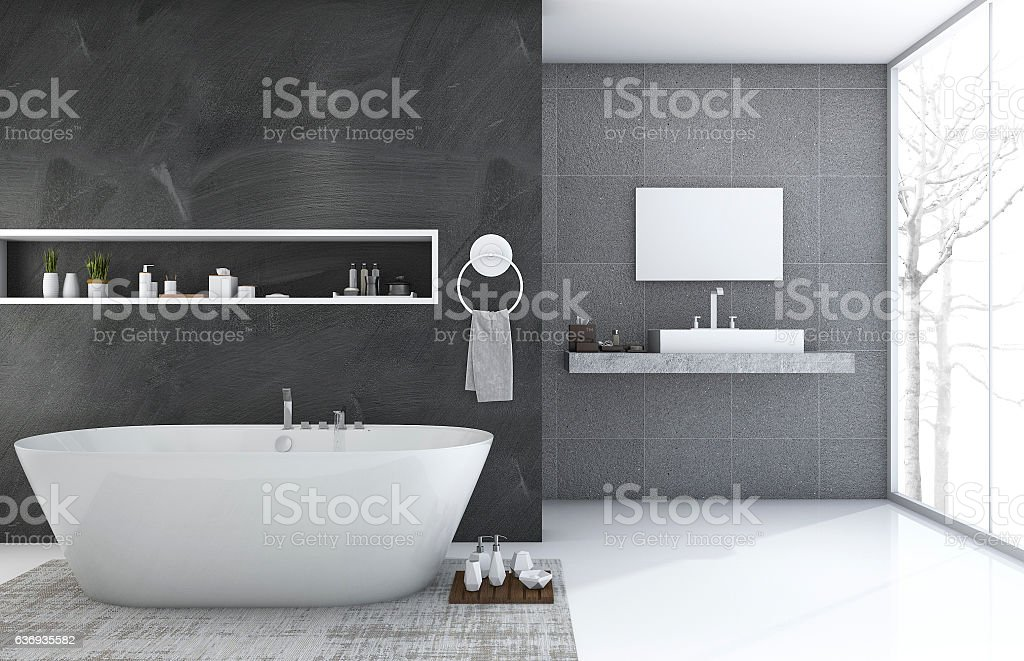 3d rendering modern style bathroom with nice winter view - foto de acervo