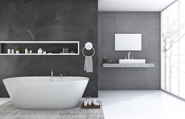 3d rendering modern style bathroom with nice winter view - minimalbadezimmer stock-fotos und bilder