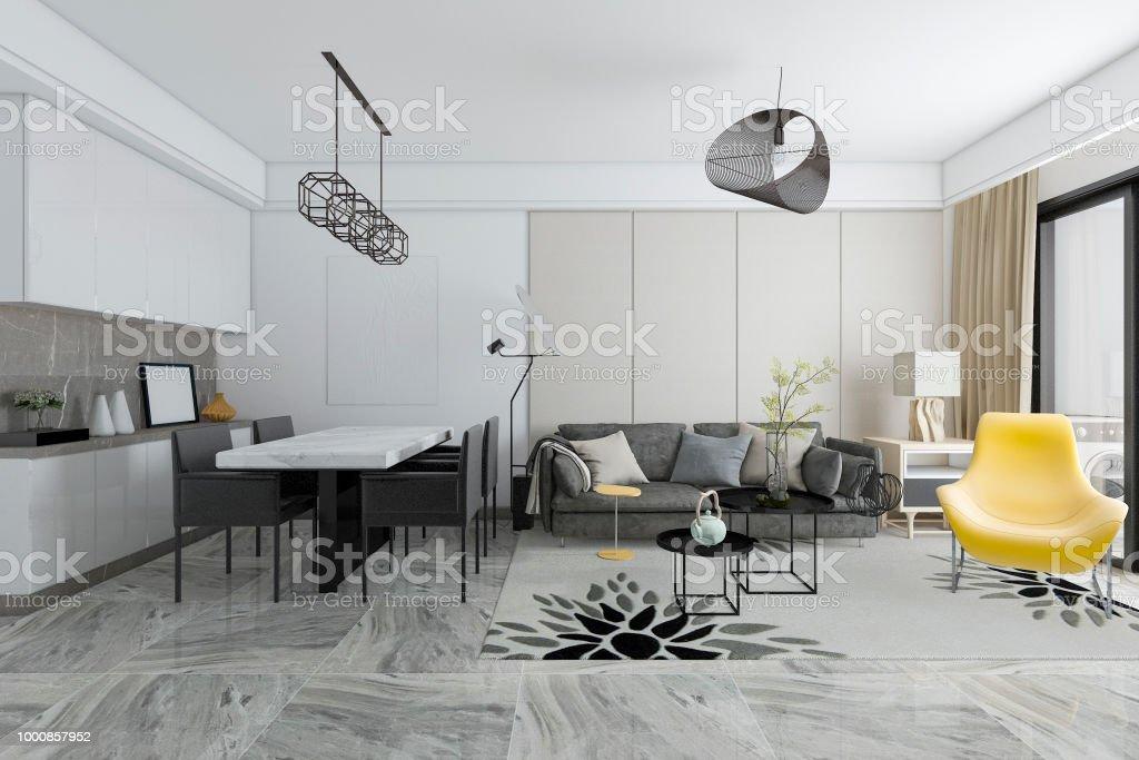 3d Rendering Moderne Fliesen Wohnzimmer Und Esszimmer Stockfoto und ...