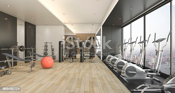 istock 3d rendering modern wood and black decor gym and fitness with nice view 669480724