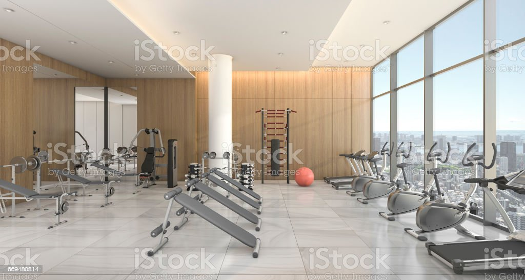 3d Rendering Modern Wood Gym And Training Room With City View Stock