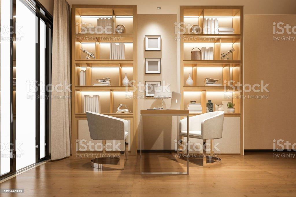 Photo de stock de salle de travail d rendu moderne bois luxe