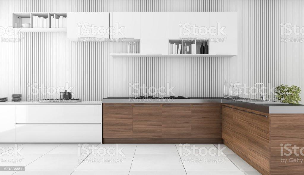 3d rendering modern wooden bar in kitchen stock photo
