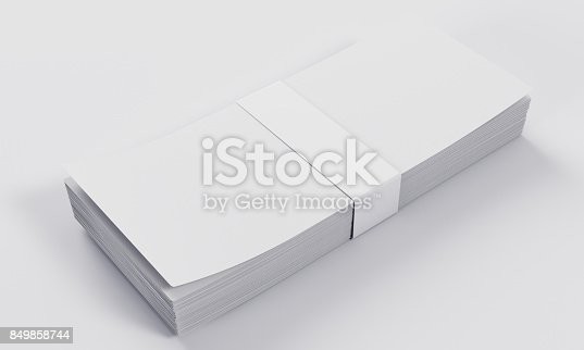 istock 3d rendering money stack mock-up isolated on white background 849858744