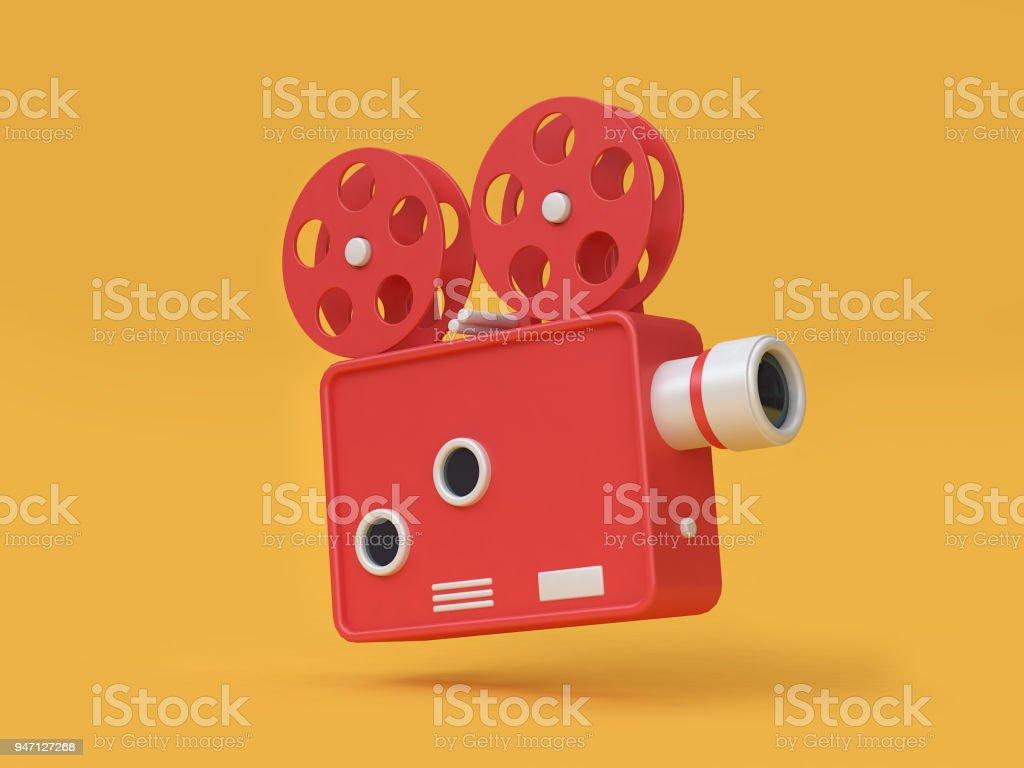 3d rendering movie-cinema projector cartoon style yellow background movie,cinema,entertainment concept stock photo