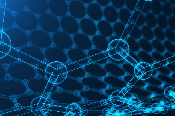 3d rendering nanotechnology, glowing hexagonal geometric form close-up, concept graphene atomic structure, concept graphene molecular structure - graphene stock photos and pictures
