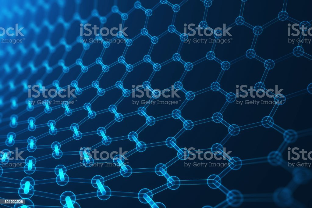 3d rendering nanotechnology, glowing hexagonal geometric form close-up, concept graphene atomic structure, concept graphene molecular structure stock photo