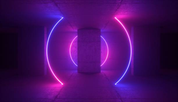 3d rendering, neon light, abstract ultraviolet background, glowing round lines, fashion stage, vibrant colors, empty room, tunnel, corridor, night club interior stock photo