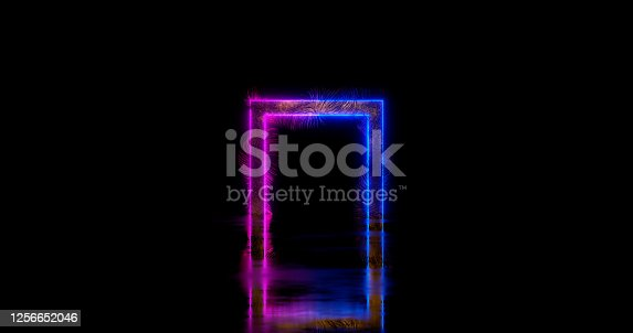 3d rendering. Neon rectangle or square in ultraviolet and blue colors on an hardening surface and black background. Futuristic frame or portal.