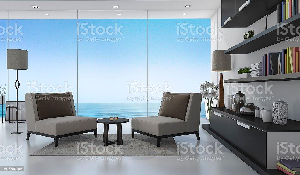 3d rendering nice armchair in white living room near sea – Foto