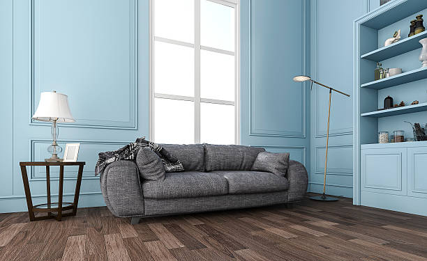 3d rendering nice blue living room with comfortable sofa stock photo