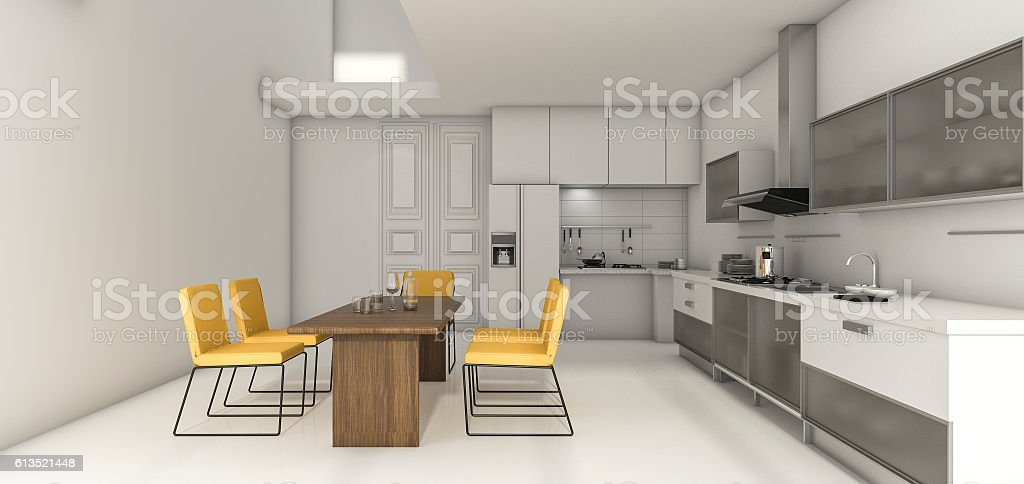 3d rendering nice design kitchen and bright yellow dining zone stock