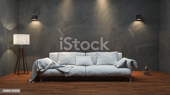 istock 3d rendering nice long sofa in minimal studio room 598926996