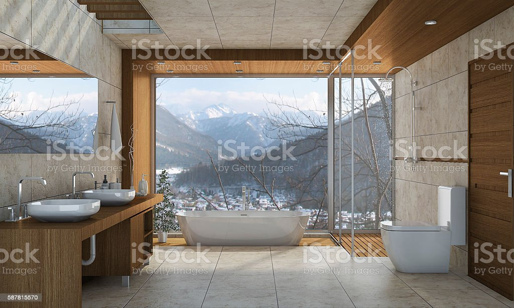 3d rendering nice nature view bathroom with beautiful design - foto de acervo