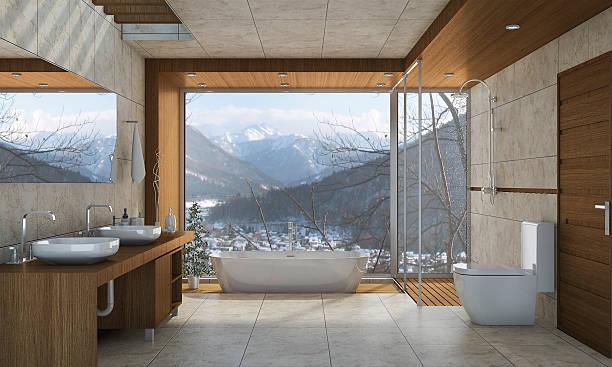 3d rendering nice nature view bathroom with beautiful design - badewanne holz stock-fotos und bilder