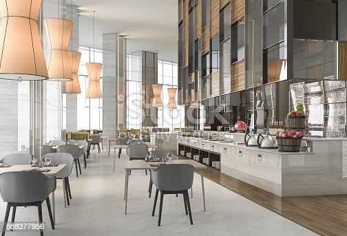 istock 3d rendering nice restaurant with elegant decoration 588377956